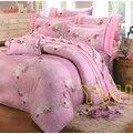 YvH JJ 大鐘印染 粉蝴蝶蘭 雙人鋪棉床罩5件組100^%精梳純棉 製 可訂做