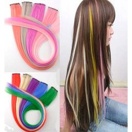 原宿龐克 螢光色 炫彩挑染漂染髮片可燙可剪 假髮接髮片