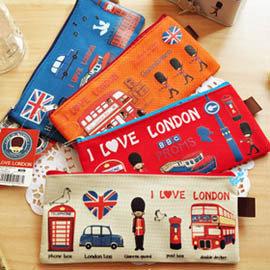 (特賣)英倫風 可愛倫敦小士兵 帆布收納袋 /復古 筆袋/票據袋