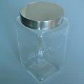 銀蓋儲物罐1000ml 方形  密封罐 玻璃瓶 收納罐 糖果罐 保鮮罐 器皿