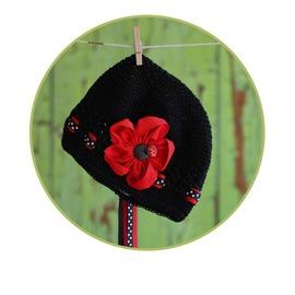 ~HELLA 媽咪寶貝~美國純 Lollitops 針織帽閃亮瓢蟲花朵系列_Black ~