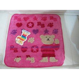 美家園 館^~ 製 彩虹熊 小方巾20^~20公分 ^~logo款 粉色 黑色