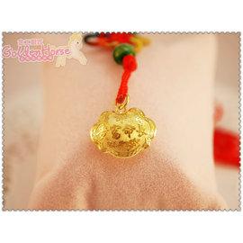 金工銀匠^~金馬銀樓^~~長命鎖片如意鎖黃金小孩墬子附紅繩~^~0.5錢小朋友彌月周歲