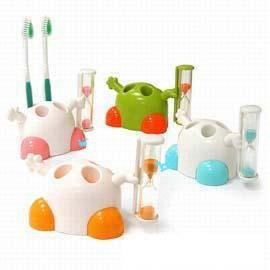 可愛大力士沙漏計時牙刷架~可放4支牙刷!