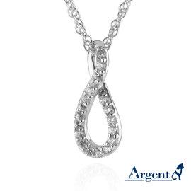 ~ARGENT銀飾~微鑲鉑銀閃亮系列~晶鑽無限 白K金 ~ 純銀項鍊