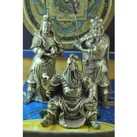 本標tonwestkanconset .2鎏銀~關公三勇士.銅雕神像.持印關平.~宋家奇楠