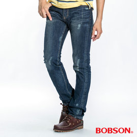 ~BOBSON~ 男款噴漆立體貓鬚直筒褲 藍1761~53