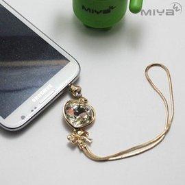 【Miya米亚】爱心流苏水钻耳机防尘塞 (手机吊饰 挂饰 3.5m耳机 闪亮 手机塞 平板 配件 金色)