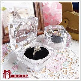 【Q禮品】A1523 四角鑽石透明珠寶盒/壓克力項鍊耳環戒指盒展示盒首飾盒禮物盒