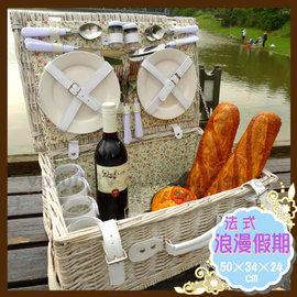 【Celice】法式浪漫假期純白小碎花手工籐編野餐籃(長50cm寬34cm高24cm)-含餐具&午餐籃