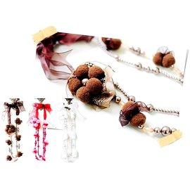 QUEENS ~U3^# 韓國飾品 ~好甜美~花朵玻璃珍珠~蝴蝶結繫帶雙圈項鍊 毛衣鍊