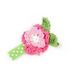 ~童心樂園~美國 Ribbies Clippies  髮夾~  桃粉色針織小花