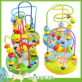 【HH婦幼館】可愛卡通迷你小串珠繞珠動物底盤/益智玩具/木製玩具