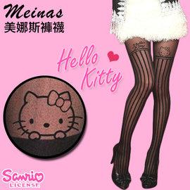 ~esoxshop~╭~美娜斯 906號 Hello Kitty ~MIT 纖腿透膚直條紋