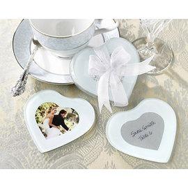 心型玻璃杯墊^(10入^) 可放照片 婚禮小物心型相框 ht~0004