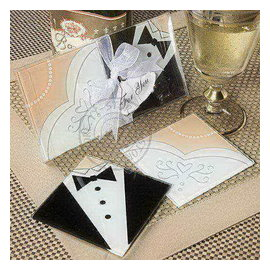新郎新娘相框玻璃杯墊^(10入^) 婚禮小物 禮贈品  零售 ht~0028