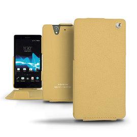 Ambition黃色 索尼 Sony Xperia Z C6602 手工訂製  法國NOREVE頂級手機皮套 客製化腰掛 Xperia Z皮套 Sony Z皮套  推薦