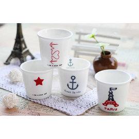 zakka 雜貨 單品 海錨 巴黎鐵塔 星星 仿紙杯 陶瓷馬克杯 陶瓷杯 牛奶杯 早餐杯