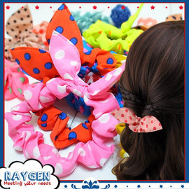 【HH婦幼館】可愛圓點小兔子耳朵髮圈/時尚百搭髮帶/頭繩/髮飾/大腸圈
