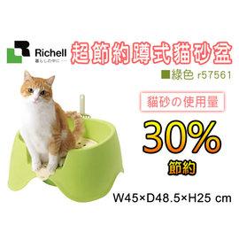 訂購~~1399~~Richell 超節約蹲式貓砂盆 綠色 r57561 U型底省貓砂量^