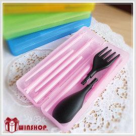 【winshop】B1571 果凍盒裝餐具組/環保餐具組/組合餐具組/環保筷 叉子 湯匙 出外攜帶方便,安全又環保