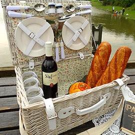 探險家戶外用品㊣Celice法式浪漫假期純白小碎花手工籐編野餐籃CE04 長50寬34高24cm 露營 郊遊