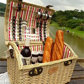探險家戶外用品㊣Celice法式歡樂派對紅白條紋手工籐編野餐籃CE05 長44寬34高32cm 露營 郊遊