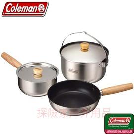 探險家戶外用品㊣CM-9373美國Coleman 三件式不鏽鋼套鍋組 飯鍋 湯鍋 煎鍋 附收納網袋 露營