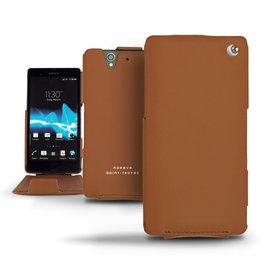 Perpetuelle棕色 索尼 Sony Xperia Z C6602 手工訂製  法國NOREVE頂級手機皮套 客製化腰掛 Xperia Z皮套 保護套殼 手機套  推薦