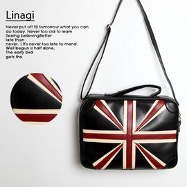 韓妞Han~niu 韓 帥氣貴族英倫風 仿真皮英國國旗立體 手提 斜側背包2用包
