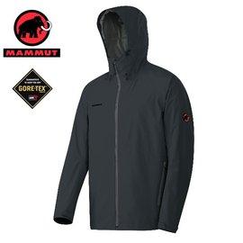 【瑞士 MAMMUT 長毛象】男新款 Juho Jacket Gore-tex 2.5 Layer 極輕量防水透氣外套(僅390g)保暖風雨衣/雪衣.適登山健行_黑/灰 13620