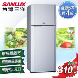 。原廠安裝+舊機回收。A0151【SANYO台灣三洋】310L雙門冰箱 SR-310B8