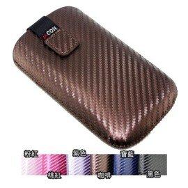 Nokia Asha 501 卡夢紋直式拉取式手拿包/保護套 ( 抽拉式/附手拿帶)