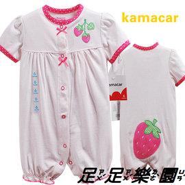 足足樂園^^m^^ 75642秀氣的草莓公主短袖連身衣 兔裝3 6 9 12 18 24M