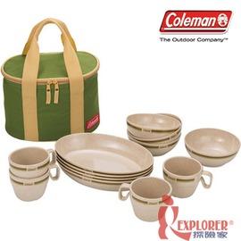 探險家戶外用品㊣CM-2922美國Coleman 竹纖維四人份餐盤組(含4碗、4盤、4杯、附收納袋)環保餐具