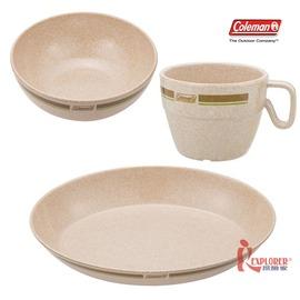 探險家戶外用品㊣CM-2923美國Coleman 竹纖維單人餐盤組 (含碗、杯、盤)環保餐具 露營 野營 野炊