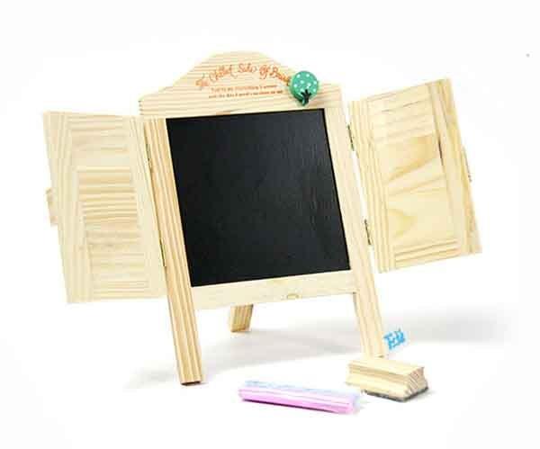画架式 爱心百叶窗 木制留言小黑板~窗户可打开!