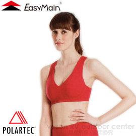 【EasyMain 衣力美】女 Polartec Power Stretch 頂級彈性快乾運動胸衣/內衣(寬肩帶)/吸濕.排汗.透氣.登山.瑜珈.有氧.舞蹈運動/M0001 暗紅