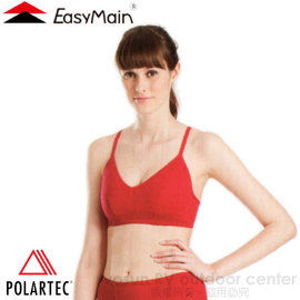 【EasyMain 衣力美】女 Polartec Power Stretch 頂級彈性快乾運動胸衣/內衣(細肩帶)/吸濕.排汗.透氣.登山.瑜珈.有氧.舞蹈運動/M0002 暗紅