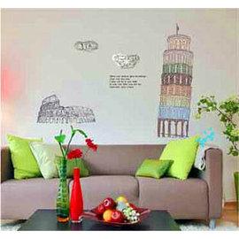 環遊世界 著名景點系列 比薩斜塔 第三代可移除牆貼~可重覆撕貼! 大型客廳電視牆沙發背景/壁貼/壁紙牆紙
