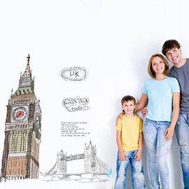 環遊世界 著名景點系列 倫敦大笨鐘 第三代可移除牆貼~可重覆撕貼! 大型客廳電視牆沙發背景/壁貼/壁紙牆紙