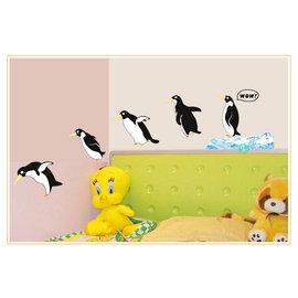 快樂腳搖擺企鵝 第三代可移除牆貼~可重覆撕貼! 大型客廳電視牆沙發背景/壁貼/壁紙牆紙
