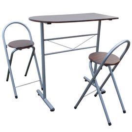 高級鋼管-洽談桌椅組/吧台桌椅組/餐桌椅組(1桌2椅)深胡桃木色-CH2050-DW