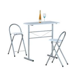 高級鋼管-洽談桌椅組/吧台桌椅組/餐桌椅組(1桌2椅)素雅白色-CH2050-WH