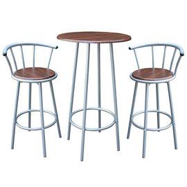 高級鋼管-洽談桌椅組/吧台桌椅組/餐桌椅組(1桌2椅)深胡桃木色-CH2051-DW