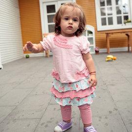 貨號~C1~10223~粉嫩上衣花花裙褲套裝 80~95cm