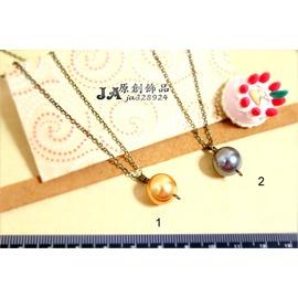 ~JA夾式耳環~JA原創飾品~→典雅大方款^~單顆SWAROVSKI水晶珍珠墜飾古銅細鍊鎖