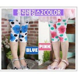 零碼 ~韓單~白底藍色花朵、粉色花朵與點點印花棉質七分棉質內搭褲^(85CM^)