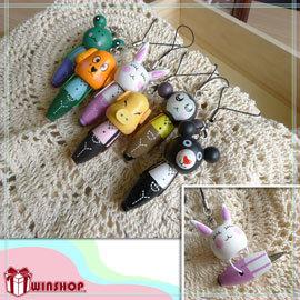 【winshop】A1632 木製動物吊飾筆/手機吊飾 鑰匙圈 隨身筆 原子筆手機吊飾 禮品贈送