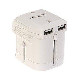 【歐格科技館】EEC-162U, 雙USB☆蘋果iPod / iPhone適用☆ 萬國旅行充電器 商務必備 極簡工藝款! 白色